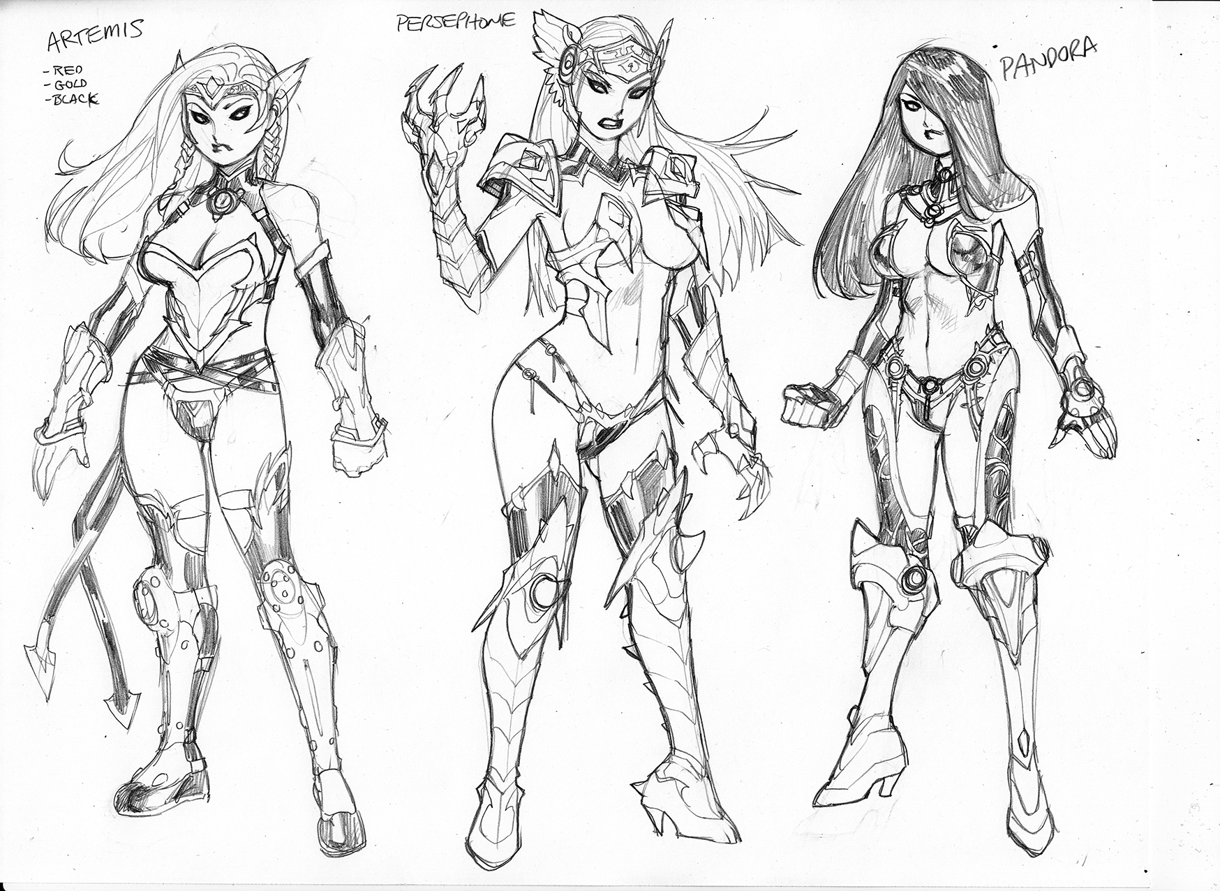 League of Maidens Concept Designs